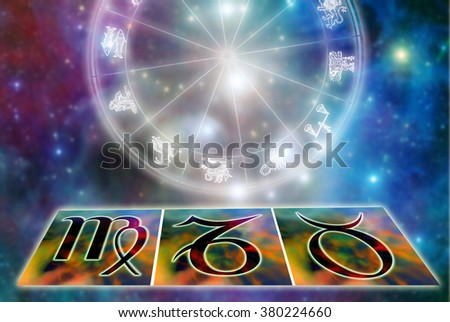 astrology symbols of zodiac signs of earth - stock photo