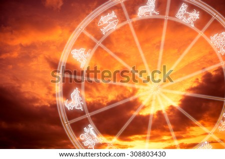 astrology wheel with signs symbols  - stock photo