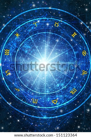 astrology wheel with zodiac symbols over blue background with stars - stock photo