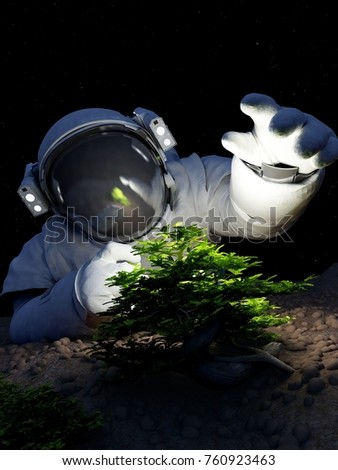 Astronaut and a tree in space.,3d render