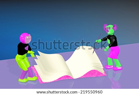 Astronaut and alien write in a notebook  - stock photo