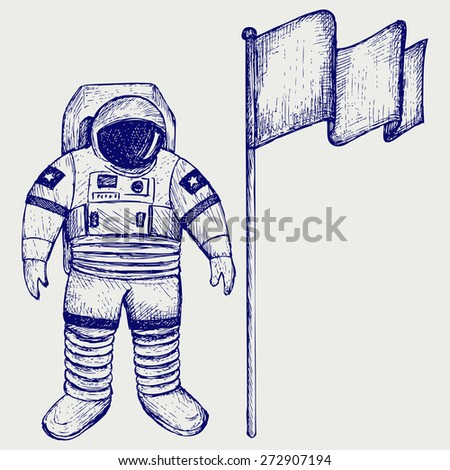 Astronaut and flag. Doodle style. Raster version - stock photo
