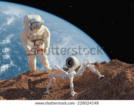 Astronaut and robot on the planet - stock photo