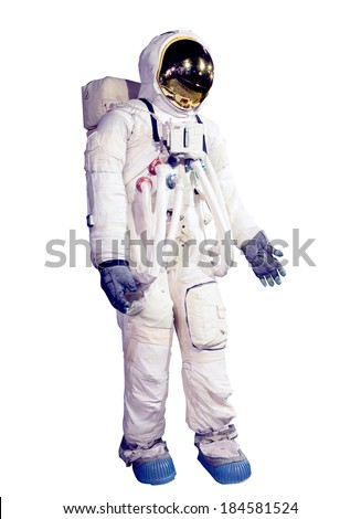 Astronaut and spaceship di-cut, isolate with clipping path  - stock photo