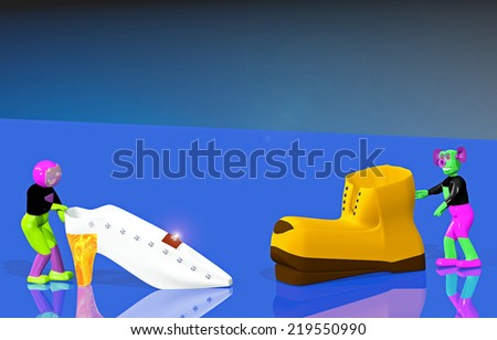 Astronaut and the alien with a orange and white shoes - stock photo