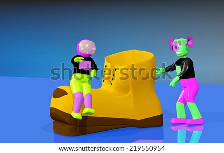 Astronaut and the alien with a orange shoe - stock photo