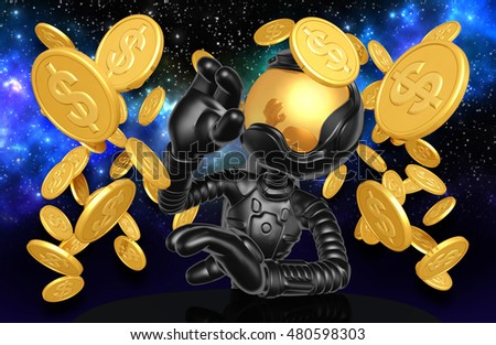 Astronaut Character With Coins 3D Illustration