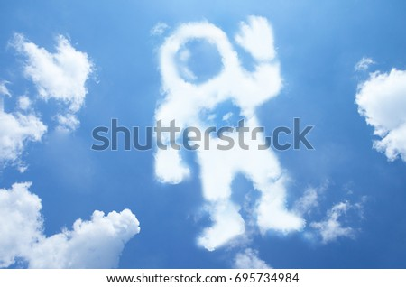Astronaut cloud shape on blue sky.