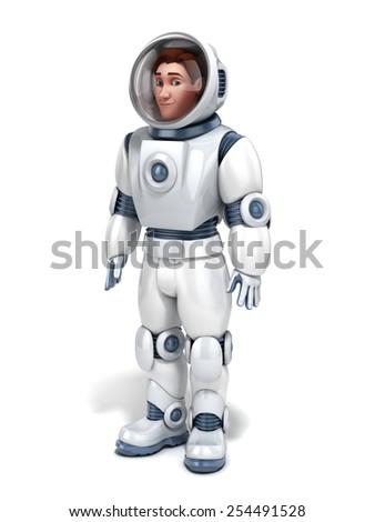 astronaut 3d illustration - stock photo