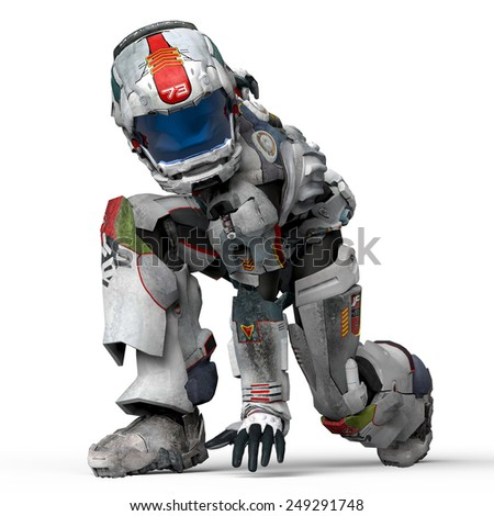 astronaut dance crouched - stock photo