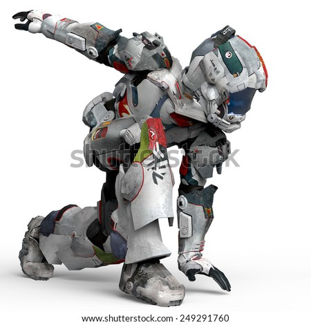 astronaut dance crouched side view - stock photo