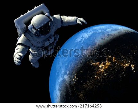 "Astronaut flying over the planet.""Elemen ts of this image furnished by NASA"""
