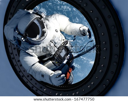 "Astronaut goes through the hatch into space.""Elemen ts of this image furnished by NASA"" - stock photo"