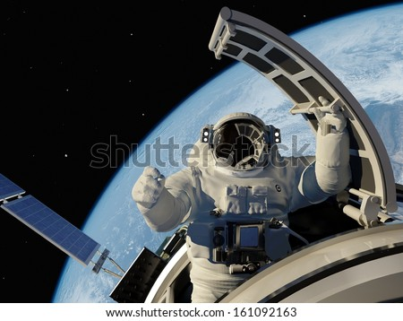 "Astronaut goes through the hatch into space.""Elements of this image furnished by NASA"""