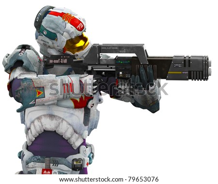 Astronaut Hero Got Gun Side View Stock Illustration ...