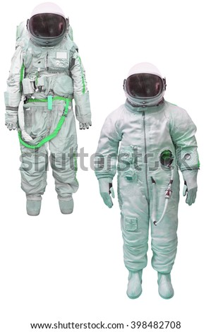 astronaut in a spacesuit under the white background - stock photo