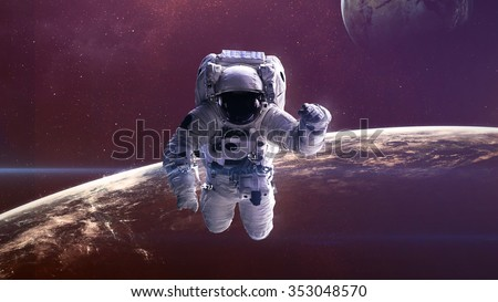 Astronaut in outer space. Elements of this image furnished by NASA.