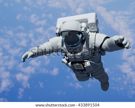 Astronaut in space above the clouds of the Earth.3d render - stock photo