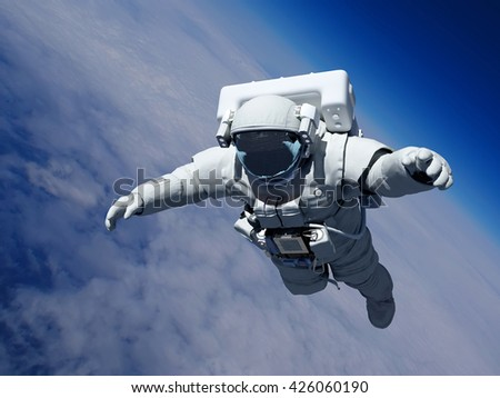 """Astronaut in space above the clouds of the Earth..""""Elemen ts of this image furnished by NASA"""",3d render - stock photo"""