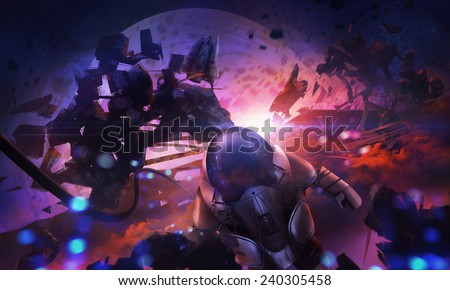 Astronaut in space. Scifi astronaut flying in open space with space shuttle & asteroids, cosmic scene illustration. - stock photo
