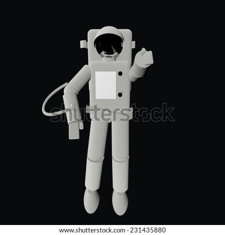 Astronaut in the darkness, 3d render, square image - stock photo
