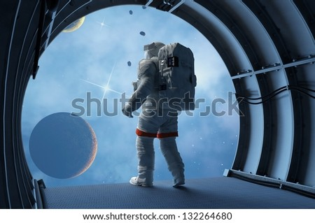 "Astronaut in the tunnels of the spacecraft.""Elemen ts of this image furnished by NASA"""