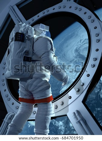 "Astronaut is looking at Earth through the porthole.""Elemen ts of this image furnished by NASA"".3d render"