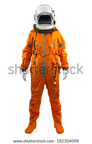 Astronaut isolated on a white background. Cosmonaut wearing space suit standing against white background. - stock photo