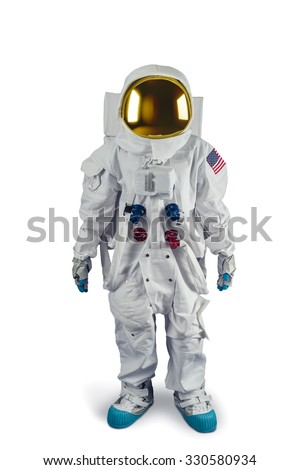 Astronaut isolated on white - stock photo