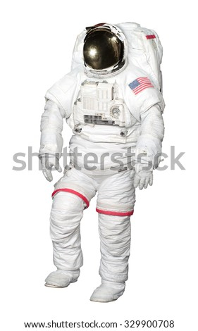 Astronaut isolated on white background with Clipping Path included. Elements of this image furnished by NASA. - stock photo