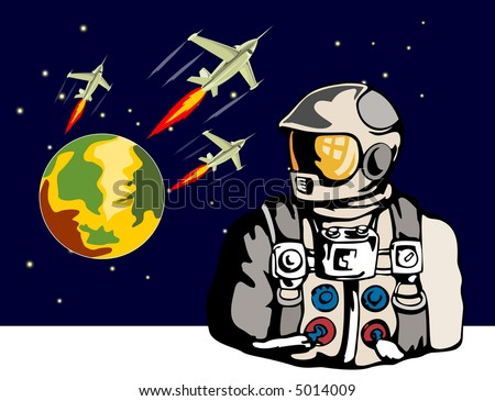 Astronaut looking up with fighter planes