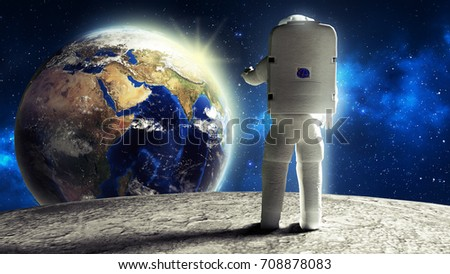 astronaut looks at the earth from the moon Elements of this image furnished by NASA 3d render