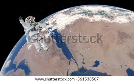 Astronaut near the planet Earth 3D illustration (Elements of this image furnished by NASA) Astronaut at spacewalk