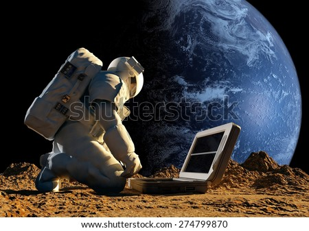 """Astronaut on his knees near the solar battery. """"Elemen ts of this image furnished by NASA"""" - stock photo"""