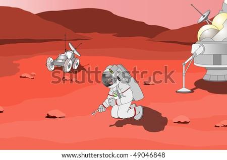 Astronaut on planet Mars - stock photo