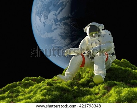 "Astronaut on the grass""Elemen ts of this image furnished by NASA"" , 3d render"