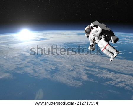 Astronaut or cosmonaut flying upon earth when sun rises, 3d render - Elements of this image furnished by NASA - stock photo