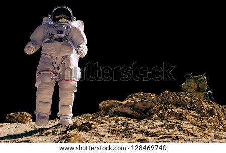Astronaut silhouette against the background of the planet. - stock photo