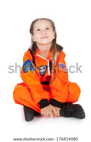 Astronaut: Sitting and Thinking About The Stars - stock photo