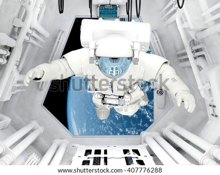 "Astronaut sitting inside .""Elemen ts of this image furnished by NASA"".3d render - stock photo"