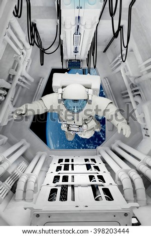 "Astronaut sitting inside .""Elements of this image furnished by NASA"" 3D rendering - stock photo"