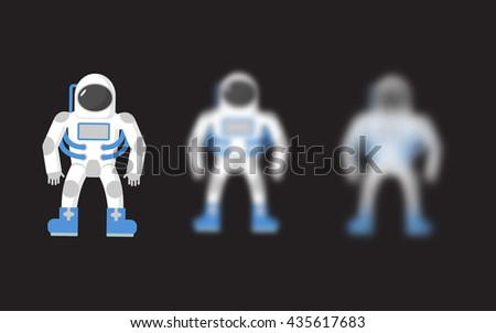 Astronaut. Space traveler. Astronaut with varying degrees of blur effect