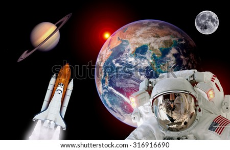 Astronaut spaceman isolated helmet shuttle space rocket earth saturn planet moon. Elements of this image furnished by NASA. - stock photo