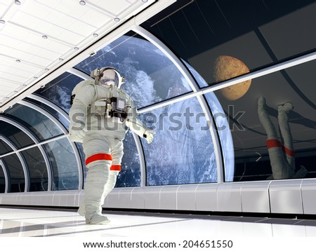 "Astronaut walking on glass corridor.""Elements of this image furnished by NASA"""
