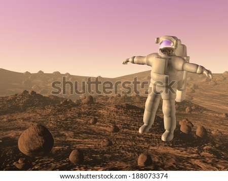Astronaut walking on the surface of Mars planet - stock photo
