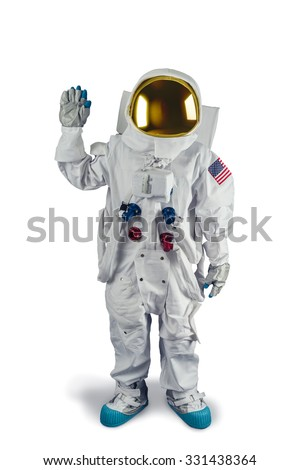 Astronaut waving isolated on white - stock photo