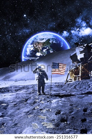 Astronaut with Flag On the Moon - Elements of this Image Furnished by NASA
