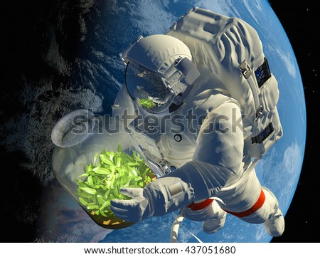 """Astronaut with seedlings on the background of the planet.""""Elemen ts of this image furnished by NASA"""",3D render - stock photo"""