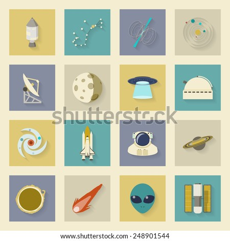 Astronautics and Space flat icons set with shadows graphic illustration design - stock photo