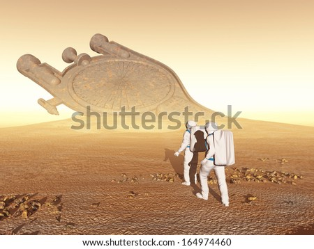 Astronauts discover an old spacecraft - stock photo
